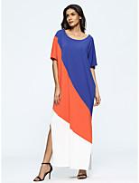 abordables -Femme Grandes Tailles énorme Ample Robe - Basique, Couleur Pleine Maxi