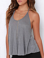 cheap -Women's Active Cotton Slim Tank Top - Solid Colored, Backless