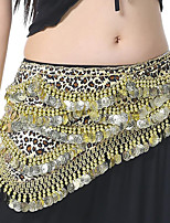 baratos -Dança do Ventre Comum Mulheres Treino Espetáculo Poliéster Metal Leopardo Cinto Lantejoula Lazer Xale de Dança do Ventre