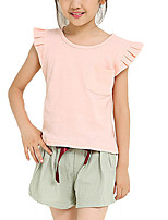 cheap -Girls' Daily Holiday Solid Colored Clothing Set, Cotton Summer Fall Short Sleeves Simple White Blushing Pink Gray
