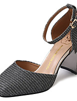 preiswerte -Damen Schuhe PU Frühling Sommer Komfort High Heels Block Ferse Quadratischer Zeh für Normal Gold Schwarz Silber