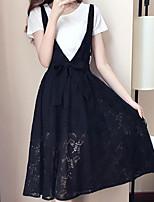 Недорогие -Жен. Классический Блуза Юбки - С принтом, Однотонный