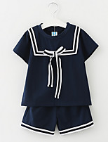 cheap -Girls' School Striped Clothing Set, Polyester Summer Short Sleeves Simple White Navy Blue