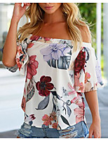 cheap -Women's Flare Sleeve Blouse - Floral, Ruffle Off Shoulder