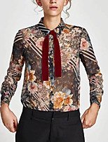 cheap -Women's Basic Shirt - Floral Shirt Collar