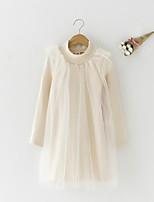 abordables -Robe Fille de Quotidien Couleur Pleine Coton Printemps Eté Manches Longues simple Actif Marron Beige