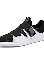 cheap -Men's Canvas / PU(Polyurethane) Summer Comfort Sneakers Color Block Black / Black / White