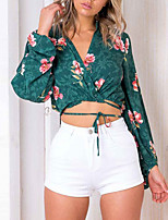 cheap -Women's T-shirt - Floral, Print Deep V