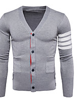 cheap -Men's Long Sleeves Slim Cardigan - Solid Colored Striped V Neck