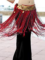 baratos -Dança do Ventre Comum Lenços de Quadril para Dança do Ventre Mulheres Treino Espetáculo Poliéster Cinto Lantejoula Mocassim Moderno Xale