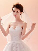 cheap -One-tier Lace Applique Edge Veil Wedding Veil Elbow Veils Fingertip Veils 53 Heart Tulle