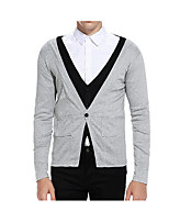 cheap -Men's Simple Long Sleeves Cardigan - Color Block, Print V Neck
