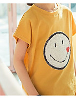 cheap -Girls' Daily Solid Tee, Cotton Summer Short Sleeves Simple Active Black Yellow