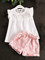 cheap -Girls' Daily Floral Patchwork Clothing Set, Rayon Summer Sleeveless Casual Blushing Pink