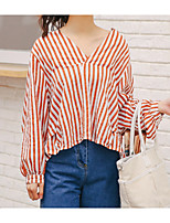 cheap -Women's Shirt - Striped V Neck
