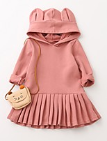 cheap -Girl's Daily Holiday Solid Dress, Cotton Spring Summer Long Sleeves Cute Active Blushing Pink