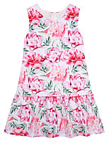 cheap -Girl's Daily Solid Floral Dress, Cotton Linen Bamboo Fiber Acrylic Spring Sleeveless Simple Vintage Blushing Pink