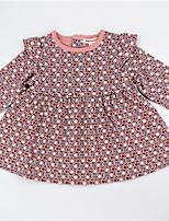 cheap -Girl's Daily Polka Dot Color Block Dress, Cotton Spring Fall Long Sleeves Cute Active Blushing Pink