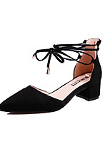 cheap -Women's Shoes PU Spring Fall Comfort Heels Chunky Heel for Outdoor Party & Evening Black Red Pink