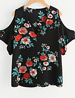 cheap -Women's Simple T-shirt - Floral
