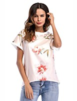 cheap -Women's Street chic T-shirt - Letter, Lace Print