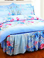 cheap -Duvet Cover Sets Floral 4 Piece Poly/Cotton 100% Cotton Printed Poly/Cotton 100% Cotton 1pc Duvet Cover 2pcs Shams 1pc Flat Sheet