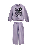 cheap -Girls' Daily Holiday Geometric Clothing Set, Polyester Spring Long Sleeves Vintage Lavender
