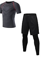 cheap -Men's Activewear Set Short Sleeve / Long Pant Breathability Clothing Suits for Fitness Polyester Blue / Red / White / Grey L / XL / XXL