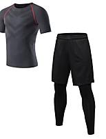 abordables -Homme Activewear Set Manches Courtes / Pantalon long Respirabilité Ensemble de Vêtements pour Fitness Polyester Bleu / Rouge / Blanc /