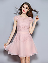 cheap -SHIHUATANG Women's Cute Sophisticated A Line Dress - Solid Colored, Lace