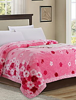 cheap -Coral fleece, Printed Floral Cotton/Polyester Polyester Blankets