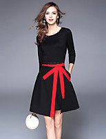cheap -SHIHUATANG Women's Vintage Street chic A Line Dress - Color Block, Patchwork