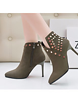 cheap -Women's Shoes Nubuck leather Fall Winter Fashion Boots Comfort Boots Stiletto Heel Booties/Ankle Boots for Casual Black Army Green