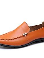 Недорогие -Муж. обувь Кожа Весна Лето Мокасины Удобная обувь Мокасины и Свитер для Повседневные Для вечеринки / ужина Черный Оранжевый Коричневый