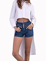 cheap -Women's Basic Puff Sleeve Shirt - Solid Colored, Print Shirt Collar