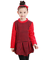 cheap -Girl's Daily Going out Check Dress, Cotton Winter Fall Long Sleeves Simple Red