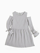 cheap -Girl's Daily Solid Dress, Cotton Spring Summer Long Sleeves Simple Vintage Gray