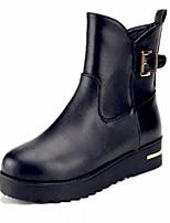 Недорогие -Жен. Обувь Кожа Осень Зима Флисовая подкладка Армейские ботинки Ботинки На низком каблуке Ботинки для Повседневные Черный
