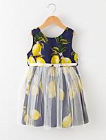 abordables -Robe Fille de Quotidien Imprimé Mosaïque Coton Polyester Eté Sans Manches Mignon Bleu Rose Claire Jaune
