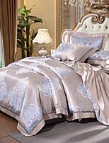 preiswerte -Bettbezug-Sets Blumen Luxus 4 Stück Seide/Baumwolle Jacquard Seide/Baumwolle 1 Stk. Bettdeckenbezug 2 Stk. Kissenbezüge 1 Stk. Betttuch