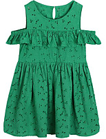 cheap -Girl's Daily Solid Dress, Cotton Spring Summer Simple Casual Green