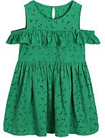 baratos -Menina de Vestido Diário Sólido Primavera Verão Algodão Simples Casual Verde