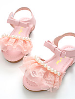 cheap -Girls' Shoes Leatherette Summer Flower Girl Shoes Sandals Imitation Pearl Magic Tape for Casual Dress White Pink