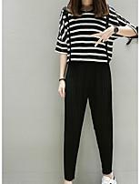 cheap -Women's Basic Blouse - Striped, Print Pant