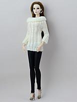 Недорогие -Отдельные органов Брюки Кофты и свитера Для Кукла Барби Белый/черный текстильный Искусственная шерсть Кофты Брюки Для Девичий игрушки