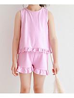 abordables -Ensemble de Vêtements Fille Quotidien Couleur Pleine Coton Printemps Eté Sans Manches simple Rose Claire