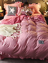 cheap -Duvet Cover Sets Solid Colored 4 Piece Poly/Cotton 100% Cotton Reactive Print Poly/Cotton 100% Cotton 1pc Duvet Cover 2pcs Shams 1pc Flat