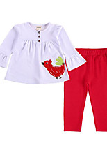 cheap -Girls' Daily Print Clothing Set, Cotton Spring Fall 3/4 Length Sleeves Cute White