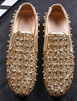 Недорогие -Муж. обувь Блестки Синтетика Весна Осень Удобная обувь Мокасины и Свитер для Повседневные Золотой Черный