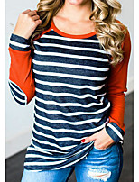 cheap -Women's Polyester T-shirt - Striped Color Block